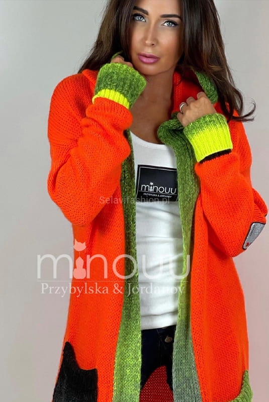 Sweter kardigan z kapturem Minouu orange