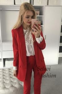 Komplet marynarka i spodnie czerwony