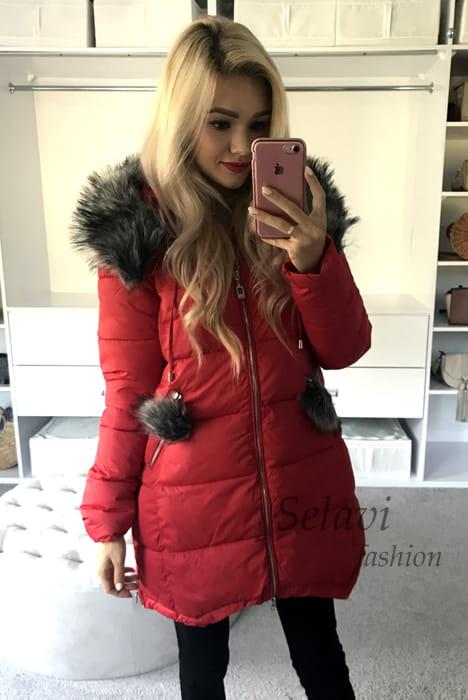 Ocieplana kurtka ozdobnie pikowana na plecach czerwona
